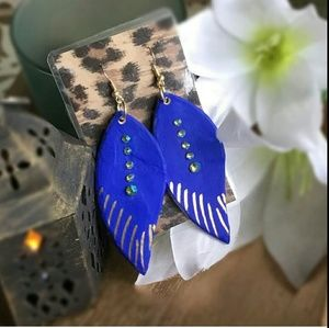 Electric Blue Feather Ceramic Earrings